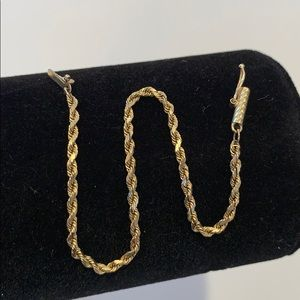 Solid 14k bracelet size small rope style 2 mm